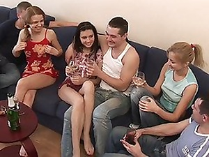 Elma & Katrin & Tigra around lusty college orgy with nasty undersized bimbos