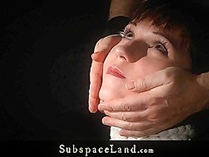 Painful hot wax and spank for ### in manacles