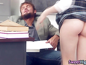 Uniform slut cum sprayed