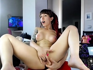 Sexy Redhead Camwhore Plays In the air Will not hear of Bauble