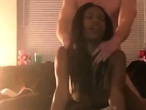 Slender THICK Ebony Teenie Rails her very first White Cock