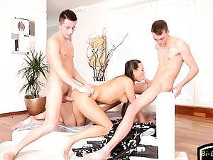 Bisex stud and hot nymph takes turns on beefstick