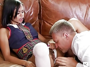 Hefty bum dark-hued schoolgirl is impatient to ride a schlong