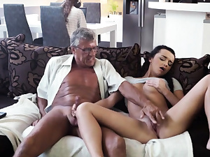 DADDY4K. Grey-haired older boy with glasses penetrates beautiful...