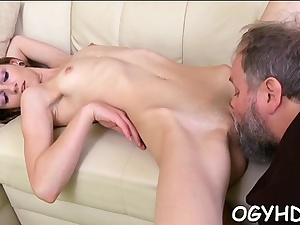 Charming russian youthfull honey idolizes taste of cum