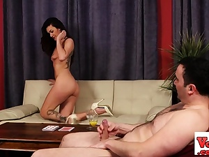 Disrobing female dom taunts wanking subjugated