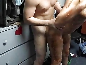 Sloppy blowjob and harsh gang screwing at a school party