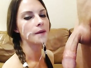 Ponytailed busty hotty inhales and fucks cock
