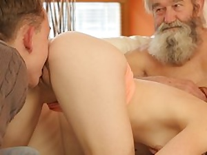 Dame's smoothly-shaven fuckbox is finger-tickled by elderly guy and son-in-law in turn