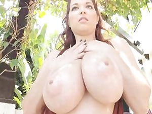 Nasty guy is pawing her fabulous ample lubricated cupcakes outdoors