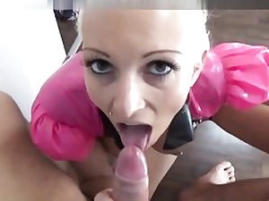 Ash-blonde latex barbie getting her clean-shaven cooch bashed rough
