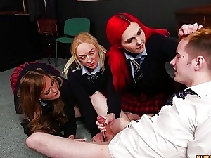 Group of school college girls gets naughty in a uber-sexy 4 way