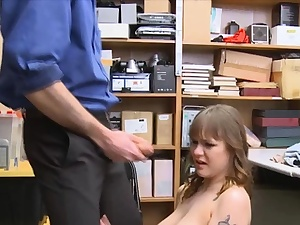 Large tit thief face poked and punished rigid in the office