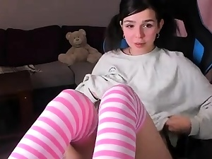 Teen stocking faux-cock solo I offer job for