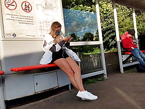 Gams and Bootie Teenage Hidden cam at Bus Stop