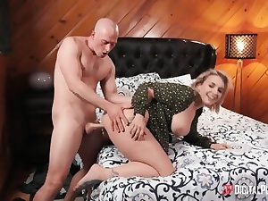 Ferocious blonde making out with her stud and gets booty inserted