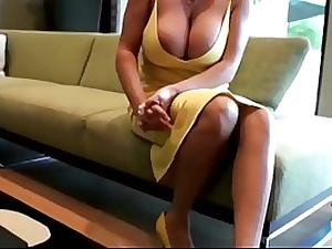 Lusty blondie mommy with thick udders is gargling jizz-shotgun while getting down on all fours on the floor and getting drilled
