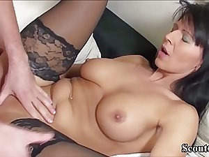 German woman in glamour, dark-hued pantyhose got torn up in a rear end- style position and got a internal ejaculation
