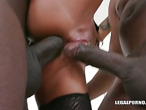 Valentina Sierra has hooked up with 2 dark-hued dudes because she luvs bi-racial DOUBLE PENETRATION a bunch